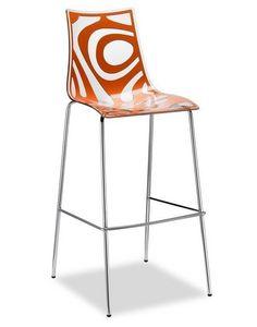 Wave H, Taburete de metal y policarbonato, altura asiento 65 o 80 cms