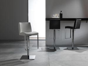 Art. 575 Maxim, Taburete elegante con asiento de cuero, ajustable en altura