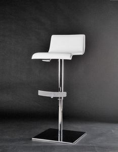 Eros taburete, Taburete con altura ajustable, giratorio, con asiento cubierto de cuero grueso