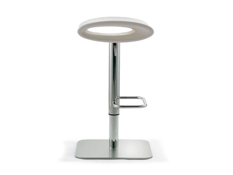 Ipanema adjustable, Taburete giratorio regulable en altura, asiento en polietileno de color, para lounge bar
