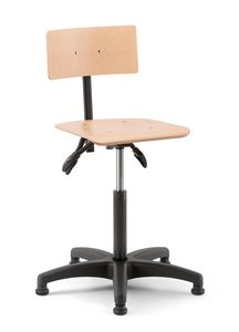 Rumba 02, Taburete giratorio con asiento y respaldo de madera.