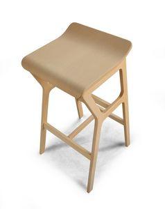 ART. 0011-H67 STOOL NHINO, Taburete de madera de haya con diseño asimétrico
