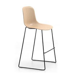 Máni Wood ST-SL, Taburete apilable con asiento de madera