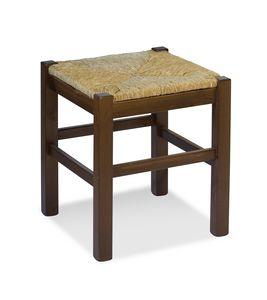 H/307 P heces Anita, Heces rústico en madera maciza de pino con asiento de paja