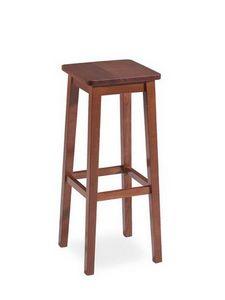 Mery, Taburete rústico, hecho enteramente de madera, asiento cuadrado