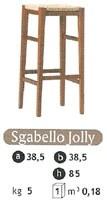 SG. JOLLY, Taburete de madera con asiento de paja