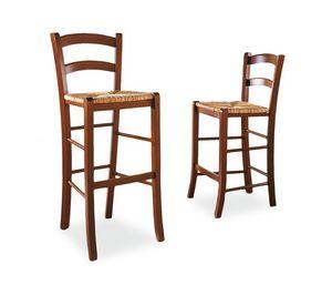 Veneta taburete, Heces rústico en madera de haya, asiento de paja, para bares