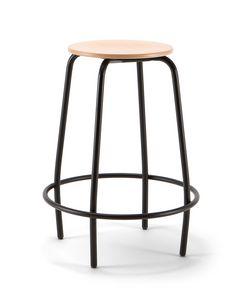 Mea Wood 04, Taburete fijo con asiento de madera.