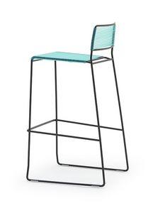 Log spaghetti ST, Apilamiento taburetes, respaldo y el asiento son de PVC cuerda de color, adecuado para uso en exteriores