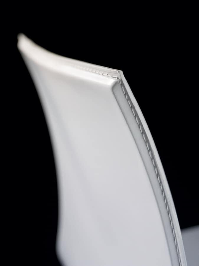 Sg. MELISSA, Taburete de metal cubierto con cuero