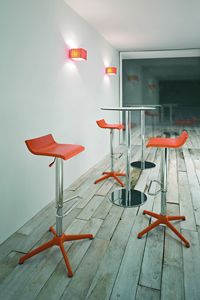Over stool, Taburete moderno ajustable, en acero cromado