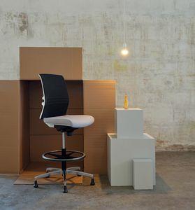 Omnia White Plus Stool 02, Taburete de recepción de oficina