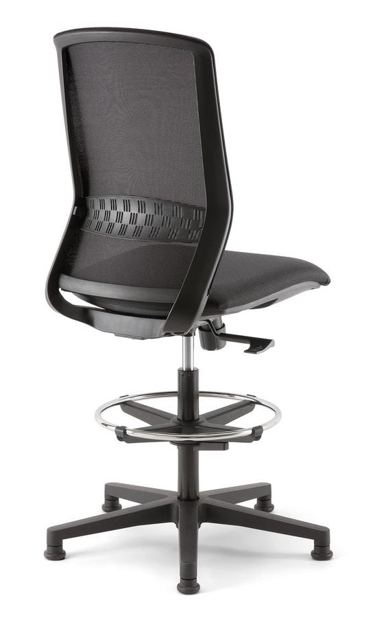 Tekna Stool 01, Taburete de oficina con malla de espalda