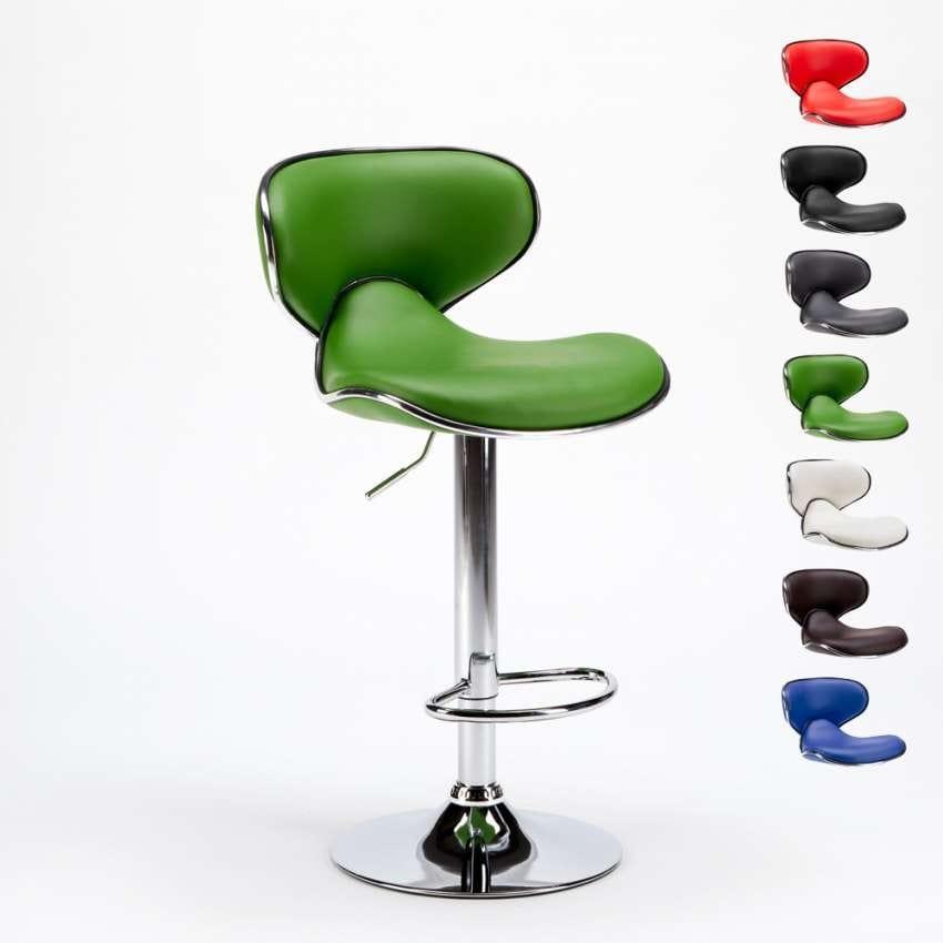 Taburete con estructura cromada y asiento de polipiel ...