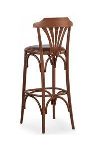B05, Taburete en madera curvada, tapizado del asiento para bares, pubs y comidas rápidas