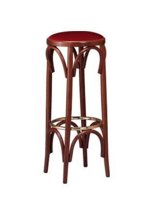 V06, Taburete en madera curvada, redondear asiento tapizado