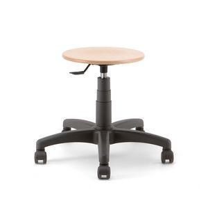 Mea Wood 01, Taburete con ruedas, con asiento redondo de madera.