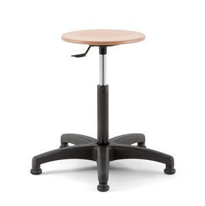 Mea Wood 02, Taburete de altura regulable con asiento de madera redondo.