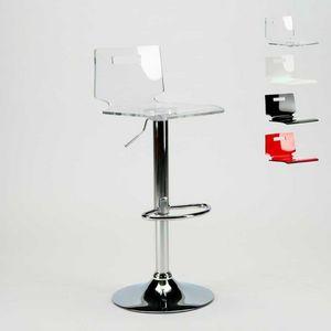 Taburete de bar y cocina de acero cromado SAN JOSE Modern Design - SGA800SNJ, Taburete con carcasa de plástico transparente