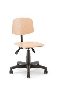 Woody 01, Taburete con ruedas, asiento de madera.