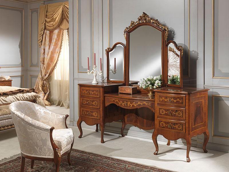 Art. 940 toilette, Tocador con unidad de almacenamiento, nogal, estilo clásico de lujo