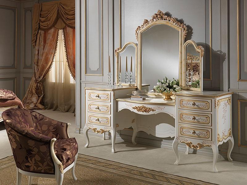 Art. 941 dressing table, Aseos con espejo, estilo clásico, final de marfil madera