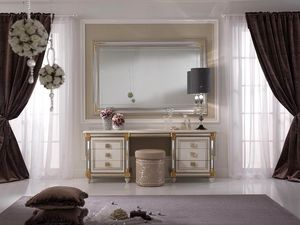 Liberty tocador, Tocador adornado con práctico estante plegable con espejo decorativo, estilo clásico y decorado a mano