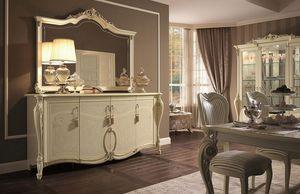 Tiziano buffet, Armario 4 puertas, acabados de pan de oro, para quedarse en estilo clásico