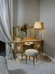Tocador 3705 estilo Luis XVI, Tocador para dormitorio de lujo.