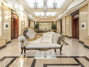 Monet tela, Sofá-cama de lujo de madera con acabados de oro, barroco