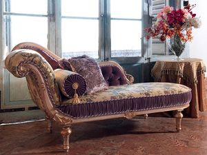 Arianna, Tallada chaise longue, acabado lacado Decapè