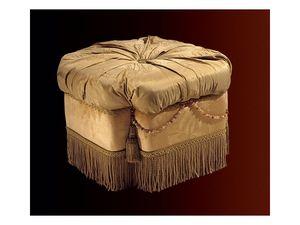 Nathalia pouf paradise, Puf tapizado para salas de estar y dormitorios, de estilo clásico