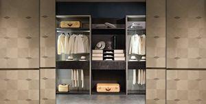 AR27 Galileo armario, Walk-in closet modular con elementos de vidrio