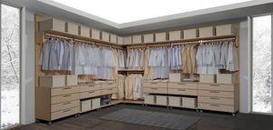 Armario 23, Walk- in closet, modular, con cajones con ruedas