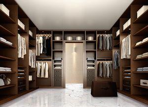 ATLANTE vestidor comp.10, Elegante vestidor para el dormitorio, hecha de nogal oscuro