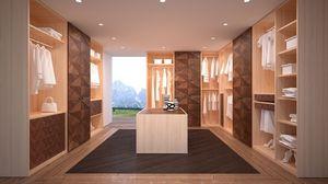 AR22 Desyo, Armario Caminando totalmente personalizable y modular con estructura de madera de roble, decorado con preciosos inlais nogal