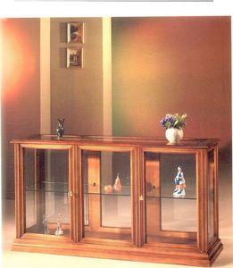 2060 ESCAPARATE, Vitrina horizontal de madera y vidrio, de estilo clásico