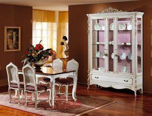 3310 ESCAPARATE, El escaparate de madera lacada en blanco, estilo clásico de lujo