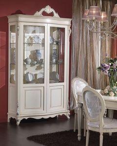 3440 DISPLAY CABINET, Mueble de chapa de madera con 2 puertas y estantes de cristal