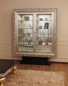 Art. 2405 Valentina Day, Vitrina Classic con 2 puertas, acabados de hoja de plata