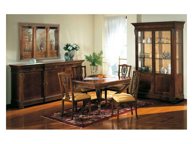 Art. 962 display cabinet Carlo X, Estilo clásico exhibe, con estantes de vidrio, para la sala de estar