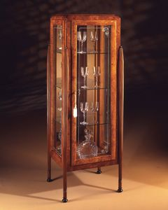 Art Déco Art.537 Vitrina de 1 puerta, Vitrina en cenizas y Zebrano, con 1 puerta