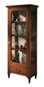 Bourges VS.6528, Nogal vitrina de cristal, con 1 puerta y 1 cajón, incrustaciones geométricas, de nuevo en tela, estantes de madera, para ambientes de estilo clásico y lujoso