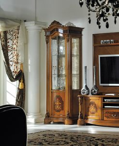 Brianza vitrina 1 puerta con incrustaciones, Vitrina con incrustaciones