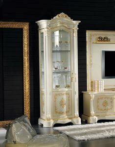 Brianza vitrina 1 puerta con pintura, Vitrina clásica tallada