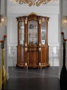 Brianza vitrina 3 puertas, Vitrina clásica, con frentes de brezo.