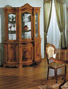 Brianza vitrina 3 puertas embutido, Vitrina con tallas decorativas