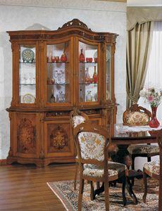 Brianza vitrina 4 puertas, Armario de cristal con incrustaciones