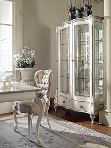 Carpi vitrina, Vitrina tallada, con acabado blanco y plateado