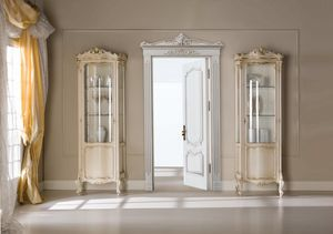 Chippendale vitrina 1 puerta lacada, Vitrina clásica, de reducidas dimensiones